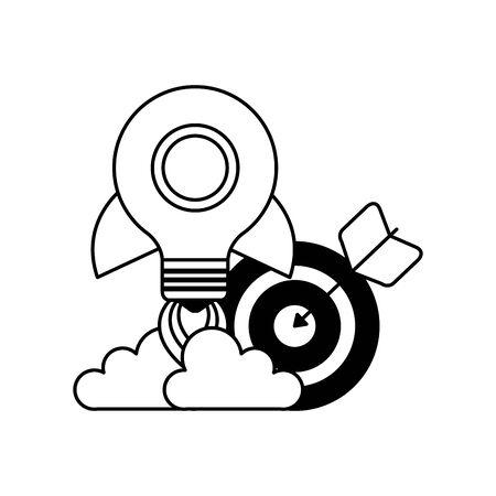 target arrow success with rocket bulb launcher vector illustration design Illusztráció