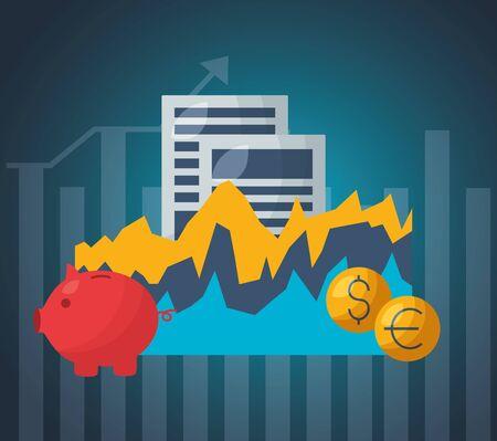 piggy bank chart documents money financial stock market vector illustration