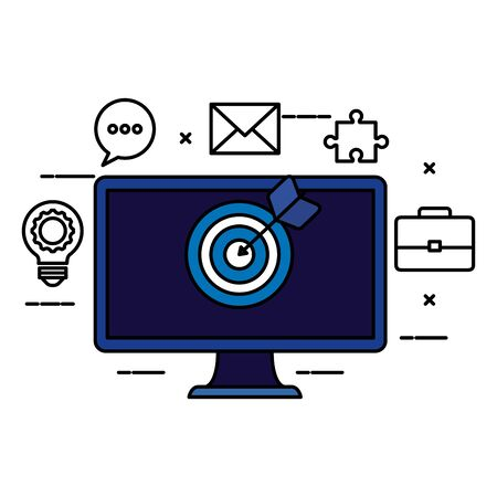 desktop computer with target and iccons vector illustration design