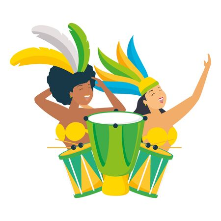 dancers exotic feathers and drums brazil carnival celebration vector illustration