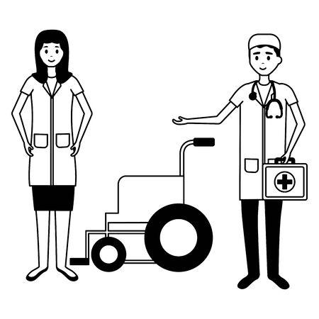 medical people staff nurse doctor wheelchair vector illustration vector illustration Illustration