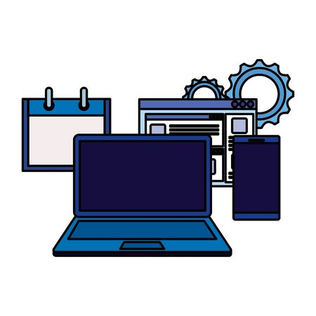laptop computer with webpage and smartphone vector illustration design 일러스트