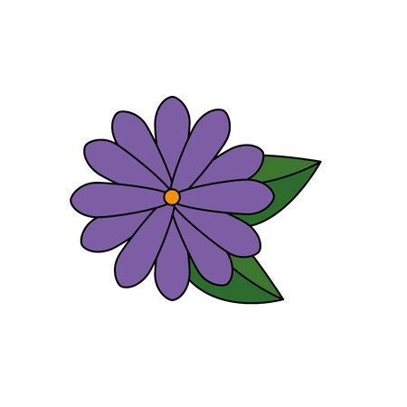 beautiful flower with leafs garden decorative icon vector illustration design 向量圖像