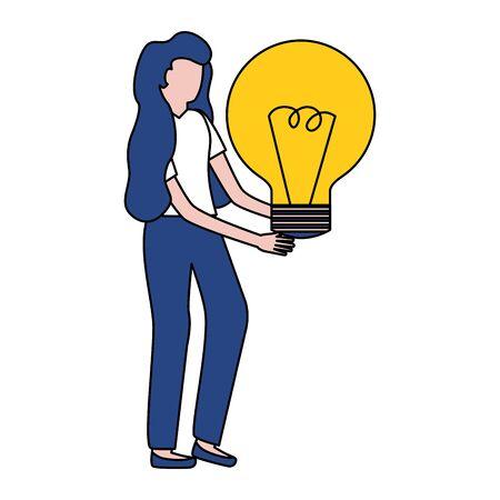 woman holding light bulb creativity vector illustration Stok Fotoğraf - 129234578
