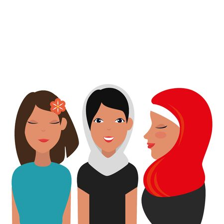 islamic women group with traditional burka vector illustration design