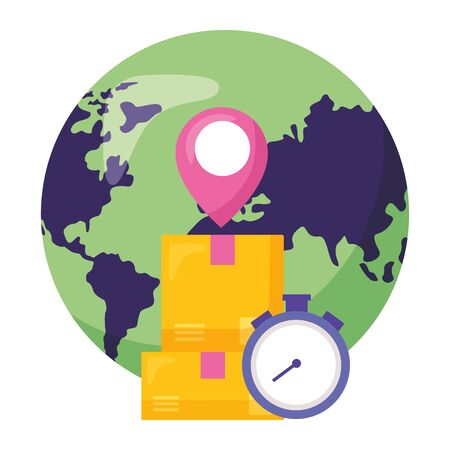 world clock boxes location pointer fast delivery business vector illustration