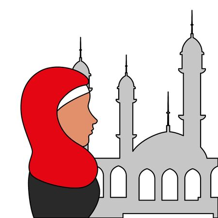 profile of islamic woman with traditional burka in mosque vector illustration design Banque d'images - 129235602