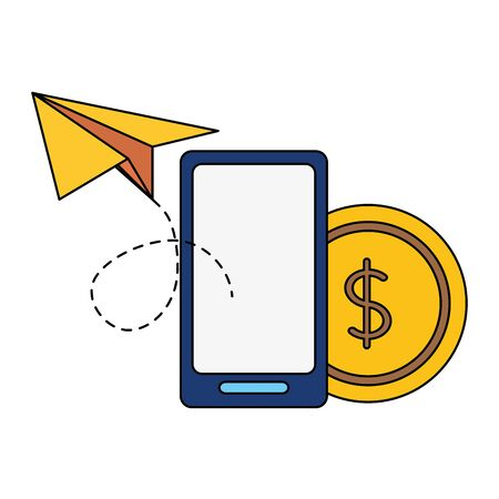 smartphone business success money paper plane vector illustration