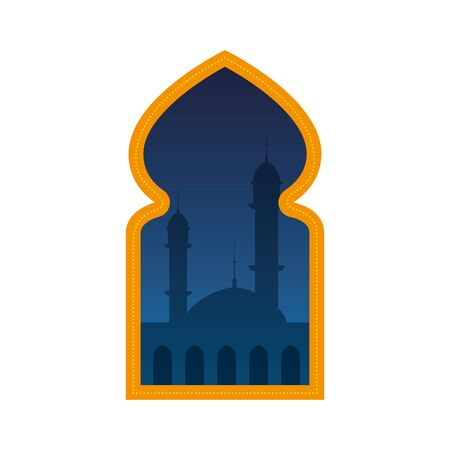 window with mosque building view vector illustration design