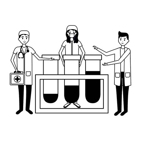 medical people staff with laboratory test tube samples vector illustration vector illustration