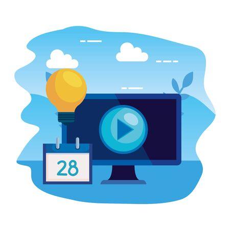 desktop computer with bulb and calendar vector illustration design 일러스트