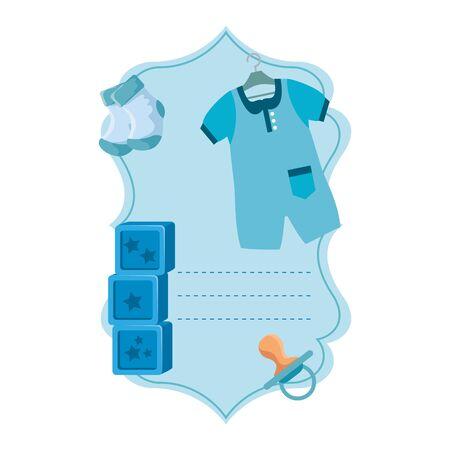 baby shower card with set accessories vector illustration design Иллюстрация