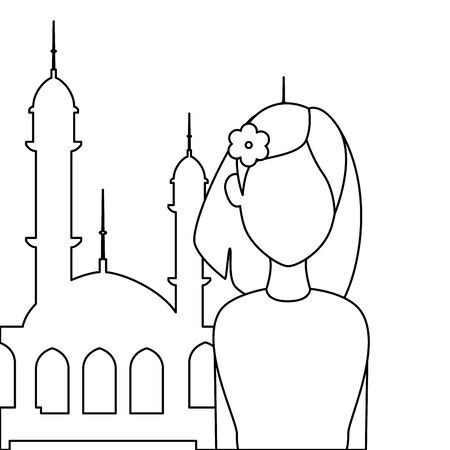 islamic woman with mosque building vector illustration design Banque d'images - 129235521
