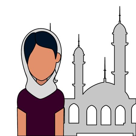 islamic woman with traditional burka and mosque building vector illustration design Ilustrace