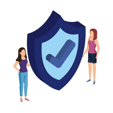 women lifting shield security with ok symbol vector illustration design