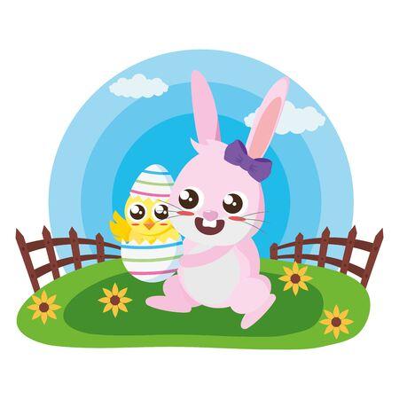happy easter rabbit carriyng chick egg meadow vector illustration