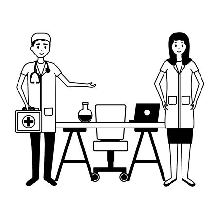 medical man and woman office desk laptop test tube suitcase vector illustration Banque d'images - 129235409