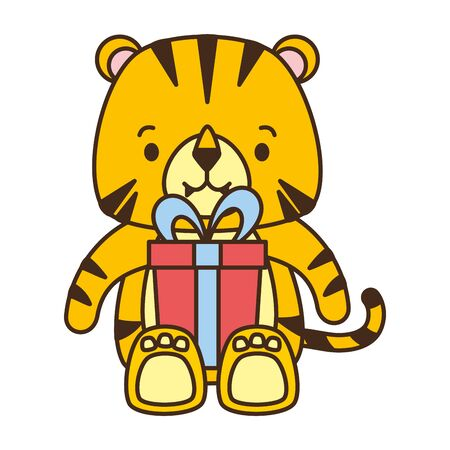 cute tiger with gift box party vector illustration Stock Illustratie