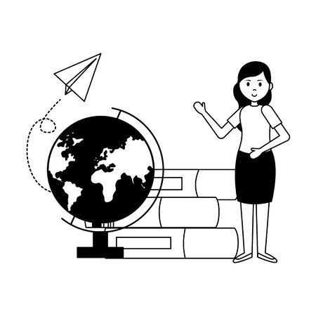 woman with school globe books paper plane teachers day card vector illustration