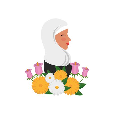 profile of islamic woman with traditional burka and garden flowers vector illustration Ilustração