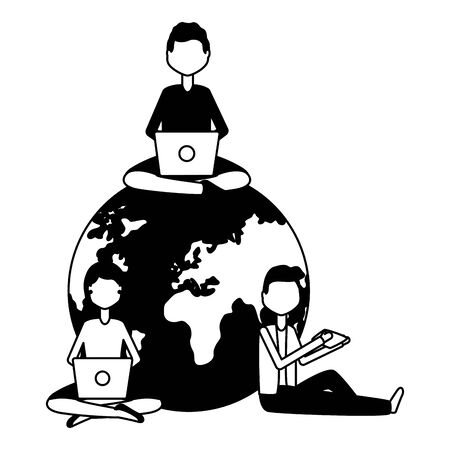 people world laptop mobile message social media vector illustration