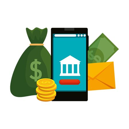 smartphone with bank building and money icons vector illustration design