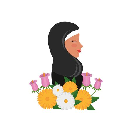 profile of islamic woman with traditional burka and garden flowers vector illustration Stock Illustratie