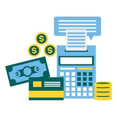 calculator bank card money tax time payment vector illustration