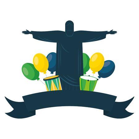 statue of christ redeemer balloons drums brazil carnival festival vector illustration vector illustration  イラスト・ベクター素材