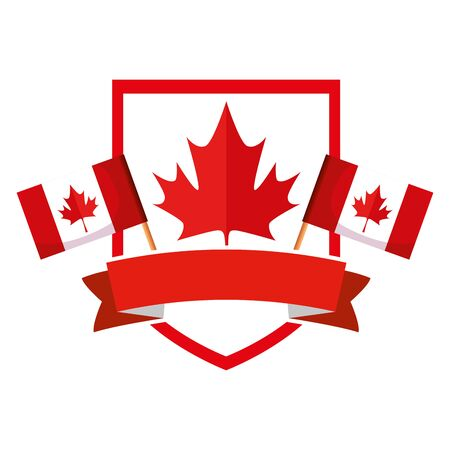 shield with canadian flags frame vector illustration design