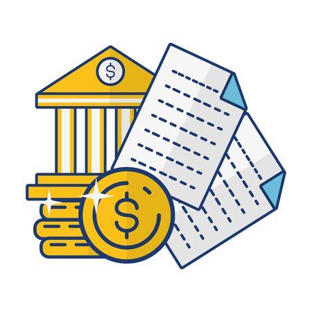 bank money stack document online payment vector illustration
