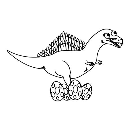mother spinosaurus care of their eggs comic character vector illustration