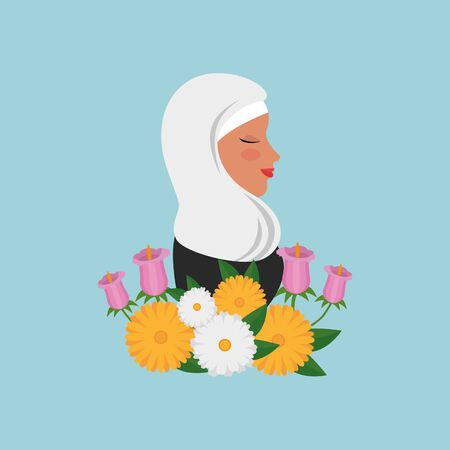 profile of islamic woman with traditional burka and garden flowers vector illustration Çizim