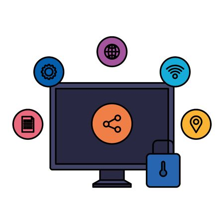 desktop with padlock and social media icons vector illustration design  イラスト・ベクター素材