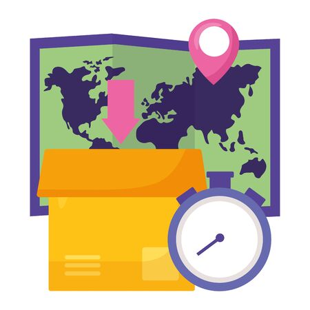 cardboard box map clock fast delivery business vector illustration Illustration