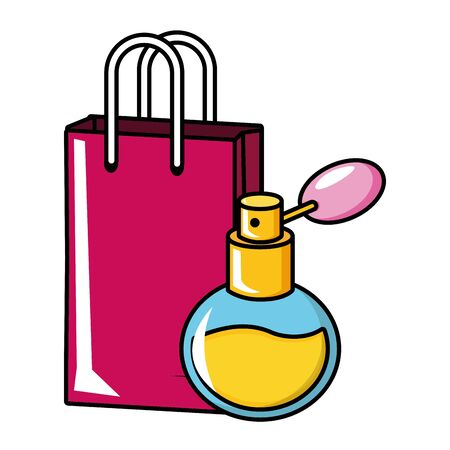 fragrance shopping bag pop art elements vector illustration