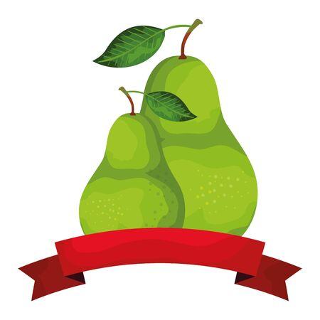 fresh pears fruits with ribbon seal vector illustration design Illustration