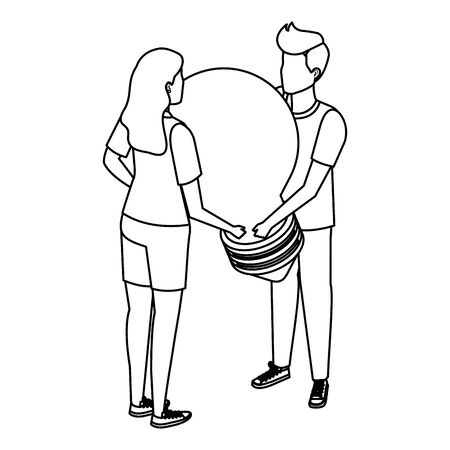 young couple lifting bulb light vector illustration design Imagens - 129340962