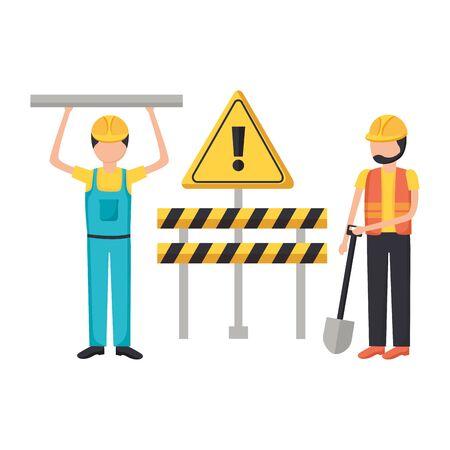 worker construction equipment shovel barrier vector illustration