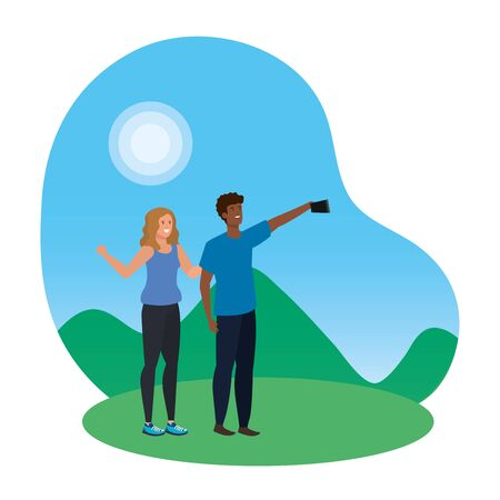 interracial lovers couple taking a selfie in the camp vector illustration design Illustration