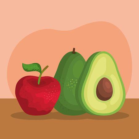 delicious apple with avocado fruits nutritions to healthy food, vector illustration Ilustração