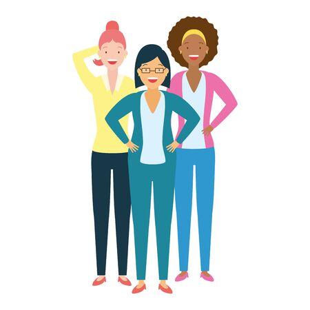 diversity women group three female vector illustration