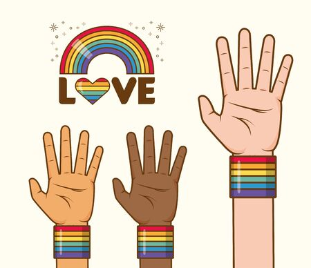 hands with rainbow colors lgbt pride love vector illustration Stock Illustratie