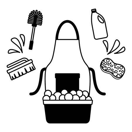 washing bucket sponge brush spring tool cleaning vector illustration  イラスト・ベクター素材