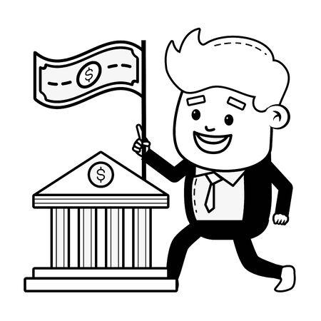 businessman bank banknote money online payment vector illustration