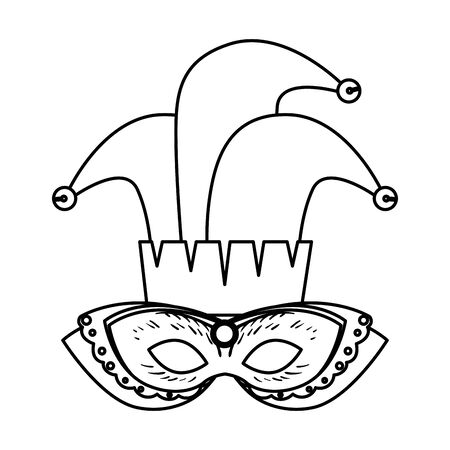 carnival mask with joker hat vector illustration design Иллюстрация