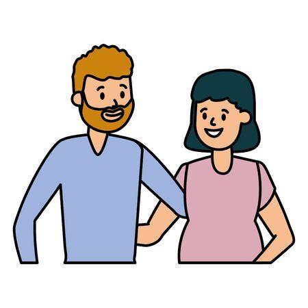 happy pregnant couple family vector illustration design Иллюстрация