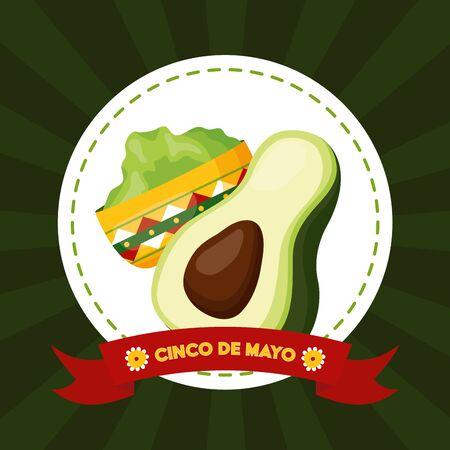avocado guacamole mexico cinco de mayo emblem vector illustration