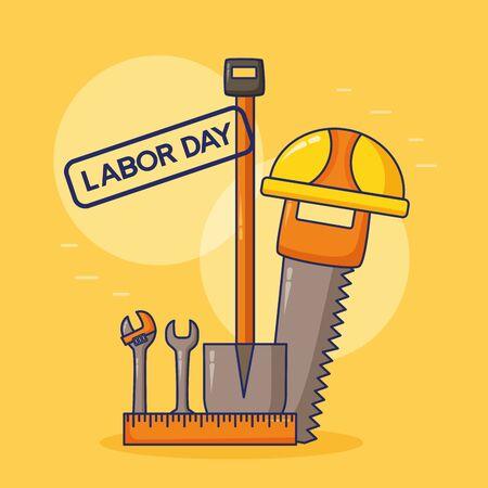 helmet saw shovel wrench construction happy labor day vector illustration