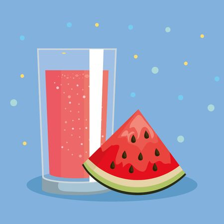 watermelon fruit and fresh juice nutrition to healthy food vector illustration Illustration